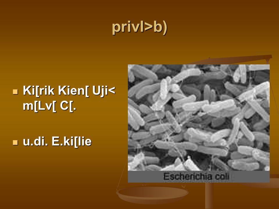 privl>b) Ki[rik Kien[ Uji< m[Lv[ C[. u.di. E.ki[lie